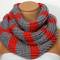 Knitted infinity Scarf Hand Knit Striped Gray and Red infinity scarf Block Infinity Scarf. Loop Scarf, Circle Scarf,