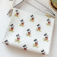 GUCCI & Disney New fashion more letter mouse print leather cosmetic bag shoulder bag crossbody bag White