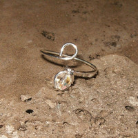 Sterling Silver Swarovski Crystal Toe Ring by wrappedandwired
