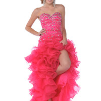 High Low Hem Prom Dresses, Strapless, Sweetheart Neckline, Sparkling Jeweled Bodice Dress, Orange, Hot Pink from Sung Boutique Los Angeles, Category Prom Dresses