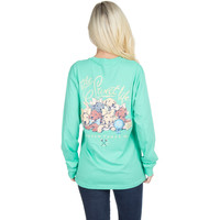 Lauren James Long Sleeve Tee- The Sweet Life- Puppies- Seafoam