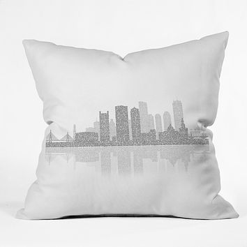 Restudio Designs Boston Skyline Reflection Outdoor Throw Pillow