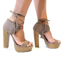 Disclosure Wrap Around Heels In Mauve