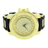 Gold Tone Dial  Watch Bullet Band Iced Out