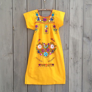 Vintage dress   Yellow Mexican embroidery colorful cotton tunic dress