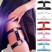 Hot club sexy girl love leather round thigh ring foot ring double row garter belt