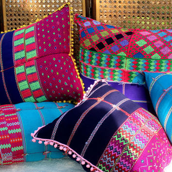 XL Bohemian Style Floor Pillow / Cushion Cover in Ethnic Karen Woven Cotton With Pom Poms