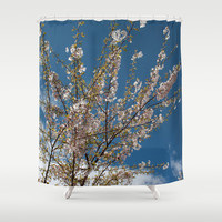 Joy of life! Spring pink cherry blossom tree against blue sky.  Shower Curtain by NatureMatters