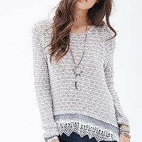 Crochet Lace-Trimmed Sweater