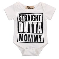 2017 Sale Summer Romper Infantil Baby Girl Boys Straight Outta Mommy Printed Short Sleeve Romper baby Clothing