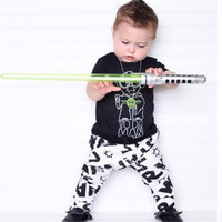 2016 summer fashion baby boy clothing set short sleeve black baby boys clothes star wars t-shirt+pants newborn 2pcs suit
