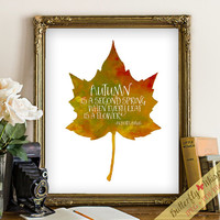 Fall Decor, Autumn leaves, Fall printable, Wall art, Fall print, Autumn decor, Fall wall art, Autumn Art, Autumn is a second spring, quote