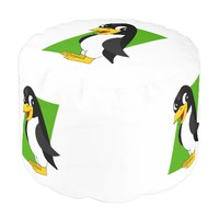 Cute penguin cartoon round pouf