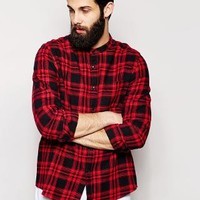ASOS   ASOS Shirt In Long Sleeve With Mid Scale Check And Grandad Collar at ASOS