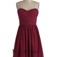 New arrival Sweetheart sleeveless mini chiffon pleated short Prom/Evening/Party/Homecoming/Bridesmaid/Cocktail/Formal Dress