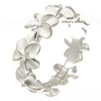 STERLING SILVER 925 HAWAIIAN 8MM PLUMERIA FLOWER LEI ETERNITY RING SIZE 3 - 10
