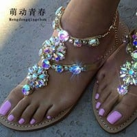 Woman Sandals Women Shoes Rhinestones Chains Thong Gladiator Flat Sandals