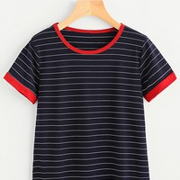 Striped Ringer Tee NAVY