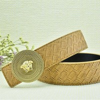 Versace Woven Pattern Belt Genuine Khaki Leather Belt For Men Dress Soft Vintage With Gold Buckle