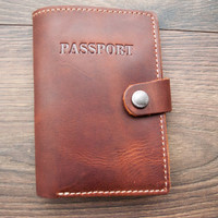 Christmas Sale -15% Passport Wallet Leather Passport Wallet, travel wallet, passport case, leather passport holder, document wallet brown