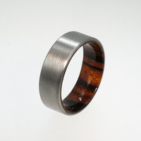 Titanium Ring with Wood Inner Sleeve
