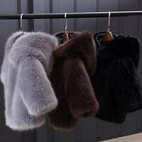 Hot Sale Baby Girls Winter Wedding Mink Fur Coat Formal Soft Party Coat Kids high quality thicken faux Fur Outerwear gray black