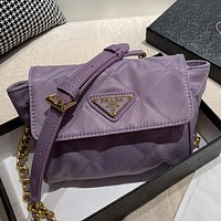 PRADA Hot Sale Solid Color Sewing Thread Canvas Embroidery Flap Shoulder Bag Chain Crossbody Bag Purple
