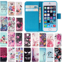 2017 New Fashion Beautiful Flower Owl Leather Wallet Cover Case For Apple iphone 5 5s SE 4 4s 5 6 6s 6Plus 6s 7 7Plus Plus Bags