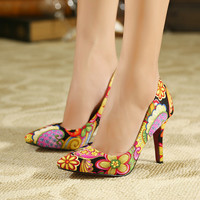 Women pumps women shoes high heel zapatos mujer tacon shoes wedding shoes 2015 new leather pointed toe sexy high heels ladies