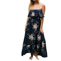 Off Shoulder women Dress 2017 Sexy Vintage Floral Printing Retro Palace Sleeveless Evening Party Maxi Dress