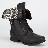 Diva Lounge Jetta Womens Military Boots Black  In Sizes