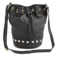 Studded Faux Leather Bucket Bag by Charlotte Russe - Black