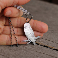 Silver owl necklace with moonstones, PMC jewelry, artisan bird jewelry, silver bird pendant, unique gift for her, bird lover jewelry