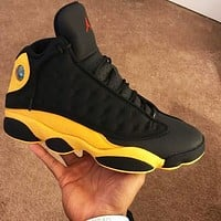 Bunchsun Air Jordan 13 AJ13 Retro Men Fashion Sport Running Basketball Shoes Sneakers Black&Yellow