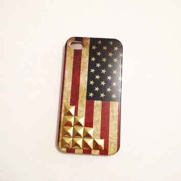 Retro American Flag Iphone 4 4S Hard Case with gold studs