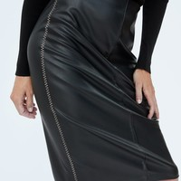 FAUX LEATHER SKIRT WITH CONTRASTING TOPSTITCHINGDETAILS