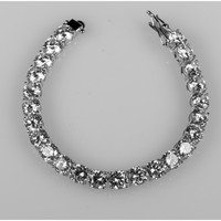 Jutta Round Tennis Statement Bracelet - 7in