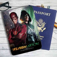 The Flash And Arrow Leather Passport Wallet Case Cover