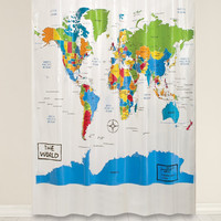 World Map Shower Curtain - 72x72""