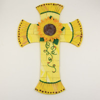 Sunflower, Mosaic Cross, Handmade Cross, Unique Wall Cross, Decorated Crosses, Baptism, Confirmation,Religious Decor, Yellow, Gold,Christmas