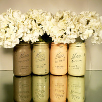FALL Wedding and Thanksgiving Home Decor - Painted and Distressed Shabby Chic Mason Jars - Pumpkin- Wide Mouth