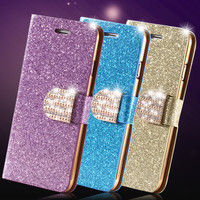 1pcs/lot Retail Stand Wallet Style Luxury Glitter PU Leather Case For Phone 6 Plus 5.5 Diamond Phone Cover Bag For iPhone 6 4.7