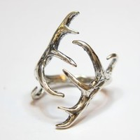 Silver Elk Antler Ring -Sterling Overlay on Solid White Bronze by Moon Raven Designs 257, Jewelry :: Rings :: Clickin Cowgirls