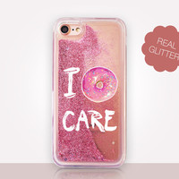 I Donut Care Glitter Phone Case - Transparent Case - Clear Case - Transparent iPhone 7 - Clear iPhone 7 Plus - Gel Case - iPhone 6/6S