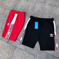 ADIDAS X Off White Clover Men's Training Sports Lace-up elastic waist stitching printed casual shorts Black Red