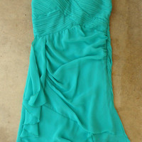 Teal Pleats and Ruffles Dress [4087] - $36.00 : Vintage Inspired Clothing & Affordable Dresses, deloom | Modern. Vintage. Crafted.
