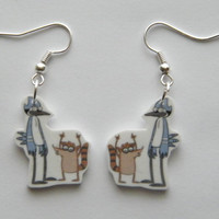 Hand Made Regular Show Mordecai and Rigby earrings
