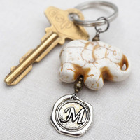 Monogram Keychain, Lucky Elephant, Initial Keychain, Personalized Keychain, Wax Seal, White Turquoise Elephant, Gift for man Good Luck Charm
