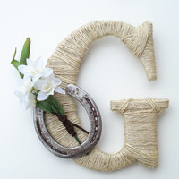 Rustic Wrapped Letter G, Rustic Letter, Country decor, Twine wrapped letter, Horseshoe decor, Rustic Home Decor, Western Letter