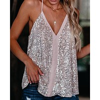 2020 New Products Women's Sequined Sling V-neck Straight Tank Top